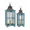 Benzara The Cool Set Of 2 Wood Metal Glass Lantern