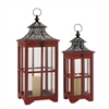 Benzara The Beautiful Set Of 2 Wood Metal Glass Lantern