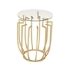Trendy Metal Glass Side Table, Light gold