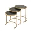 Functional Metal Glass Act Table, Black and gold, Set Of 3