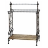 Benzara Traditional Wooden And Metal Towel Rack In Black Finish