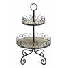 Benzara 2 Tier Tray Styled With Beautiful Scroll Accents