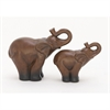 Adorable Ceramic Elephant, Natural Brown, Black, Set Of 2