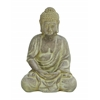 Benzara Fiber Clay Buddha In Sitting Pose With Antiqued Yellow Finish