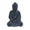 Benzara Durable Fiber Clay Buddha Glanced With Antiqued Black Finish
