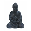Fiber Clay Buddha In Antiqued Black Finish With Fine Detailing