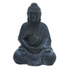 Benzara Fiber Stone Buddha With Elegant Detailing In Black Color