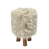 Attractive Wood Faux Fur Stool Beige Round, Beige, Natural Wood