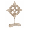 Benzara White Polished Attractive Wood Fleur Di Lis White