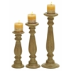 "Benzara Candle Stands - Wood Candle Holder Set/3 18"", 15"", 12""H"