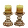"Candle Stands - Wood Candle Holder Pair 6""H, 5""W"