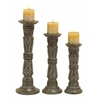 Benzara Contemporary Wooden Candle Holder Whitish Brown Finish - Set Of 3