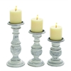 Short And Sweet Wooden Candle Holder Set Of Three In White Paint Finish