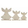 Delightful Set Of 3 Wood Angel