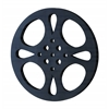 Benzara Metal Movie Reel Black-Gray