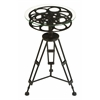 Benzara Metal Glass Accent Table A Tripod Table