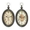 Oval Shape Sophisticated Assorted Metal Wall Clock - Set Of 2