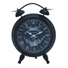 Benzara Table Clock With White Intricate Design & Roman Numerals