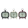 Benzara Shanghai Antique Styled Metal Table Clock 3 Assorted