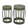 Benzara Barrel Shaped Metal Stool With Greenish Finish- Set Of 2