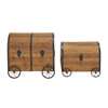 Benzara Vintage Themed And Unique Wood Metal Wheel Trunk Set Of 2