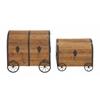 Benzara Vintage Themed And Unique Wood Metal Wheel Trunk Set Of 2