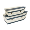 Sturdy Wood Boat Trunks, White and Blue, Set Of 3