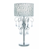 Benzara Venica Table Lamp With Chic Printed Lampshade And Beaded Tassels