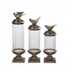 Exquisite Polystone Glass Bird Jar Set Of 3