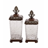 Antique Themed Polystone Glass Jar Set Of 2