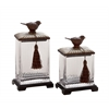Classy And Stylish Polystone Glass Canister Set Of 2