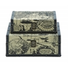 Benzara Square Shape Traveling Boxes With Ancient World Map