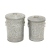"Benzara Marvellous Metal Galvanized Trash Can Set Of 2 15"", 17""H"