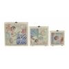 "Benzara Exceptional Wood Glass Box Set Of 3 7"", 9"", 11""W"