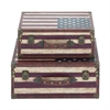 Exclusive Wood Canvas Trunk, Multicolor, Set Of 2