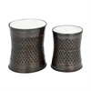 Astounding Metal Marble Accent Table, Antique Copper, Set Of Two