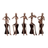 Artistic Aluminum Wood Musician, Copper And Brown, Set Of 5