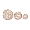 Classy Metal Copper Sphere, Copper, Set Of 3