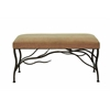 Benzara Lattice Styled Buckingham Fabric Seated Metallic Bench