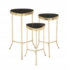 Benzara Set Of Three Stylish And Classy Metal Glass Accent Table