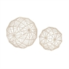 Designer Metal Wire Orb, Silver, Set Of 2