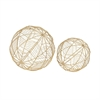 Fashionable Metal Wire Orb Gold, Gold, Set Of 2