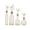 Chic, Antique silver, Set Of Four Glass Metal Bottles