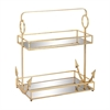 Classic Metal Mirror 2 Tier Tray, Translucent, Golden