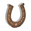 Alluring Wood Metal Led Horseshoe Sign, Natural wood, Beige