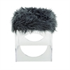 Comfortable Acrylic Grey Fur Stool, Translucent & Grey