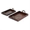 Contemporary Wood Metal Tray, Brown, Set Of Two