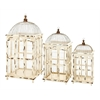 Benzara Metal Bird Cage Bright White Finish - Set Of 3