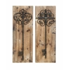 Benzara Enchanting Key Door Wall Plaque In Aged Wood
