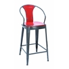 Benzara Old Look Fire Engine Red Bar Chair With Comfort Arm Rests